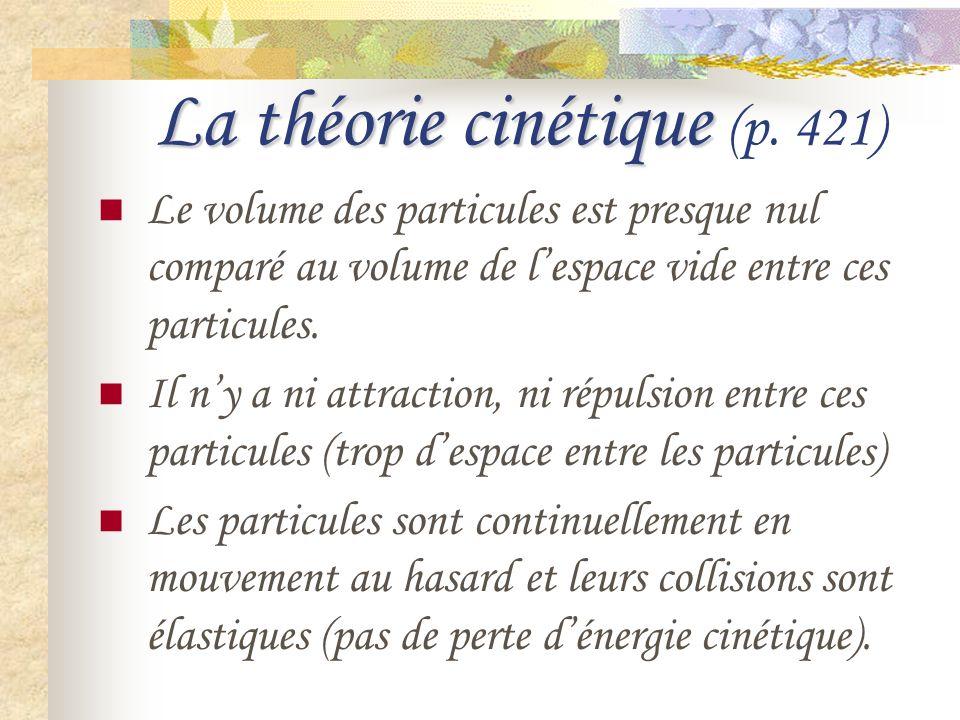 La théorie cinétique La théorie cinétique (p. 421) Le volume des particules est presque nul comparé au volume de lespace vide entre ces particules. Il