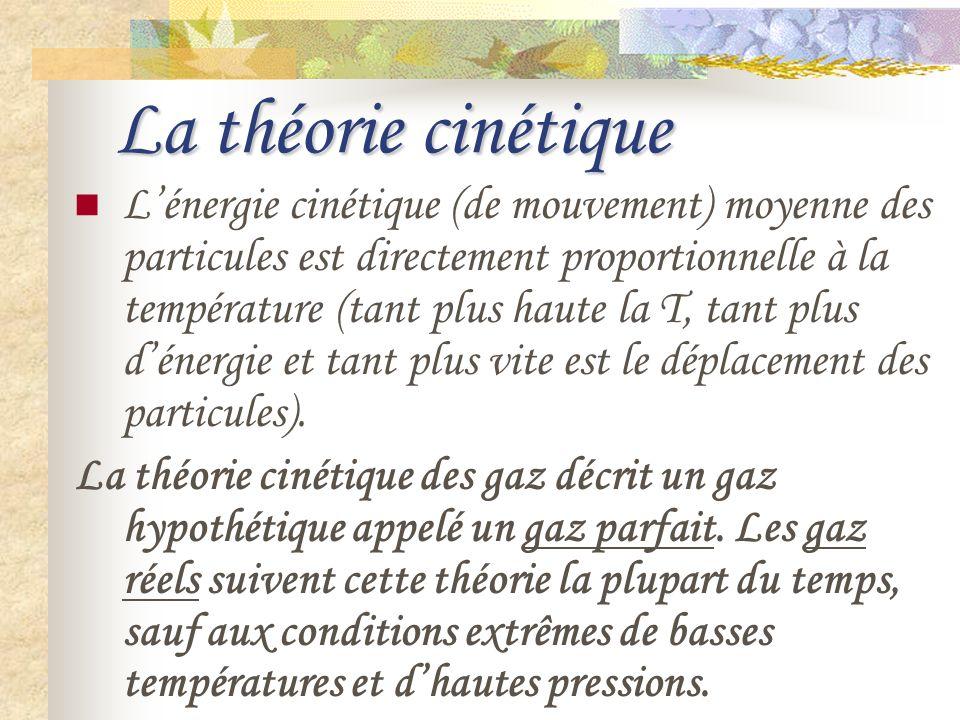 La théorie cinétique Lénergie cinétique (de mouvement) moyenne des particules est directement proportionnelle à la température (tant plus haute la T,