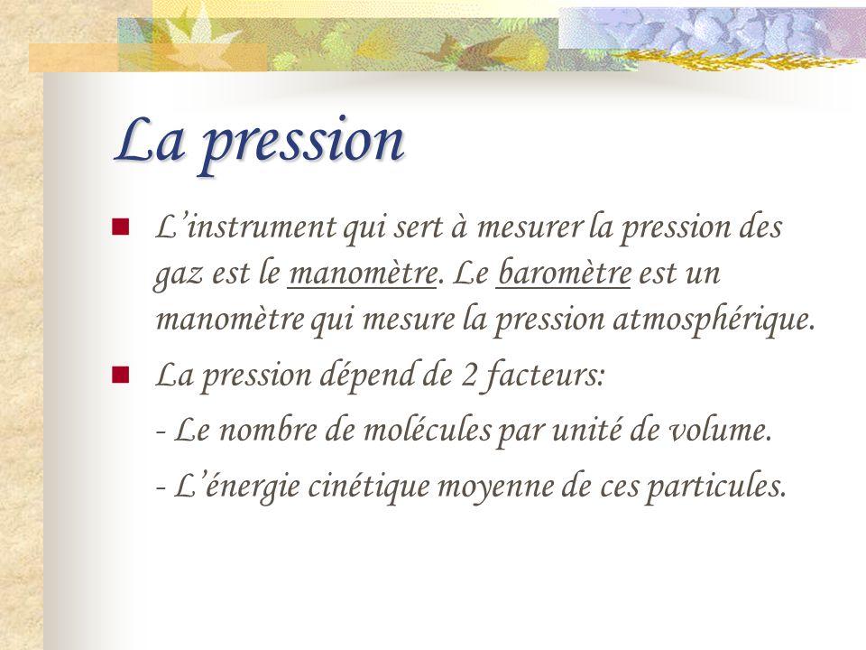 La pression Linstrument qui sert à mesurer la pression des gaz est le manomètre. Le baromètre est un manomètre qui mesure la pression atmosphérique. L