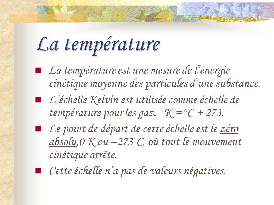 La température La température est une mesure de lénergie cinétique moyenne des particules dune substance. Léchelle Kelvin est utilisée comme échelle d