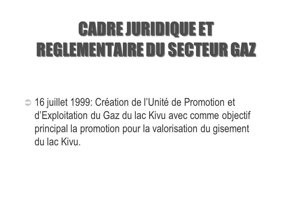 CADRE JURIDIQUE ET REGLEMENTAIRE DU SECTEUR GAZ 1975: Création de la CEPGL et confirmation de la co- propriété du gisement par la République Démocrati