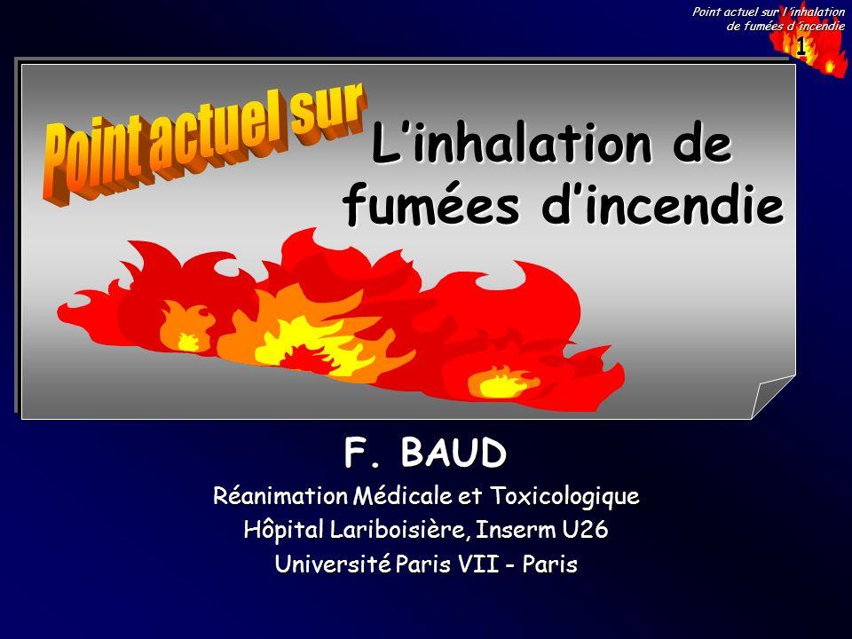 1 Point actuel sur l inhalation de fumées d incendie F. BAUD Réanimation Médicale et Toxicologique Hôpital Lariboisière, Inserm U26 Université Paris V
