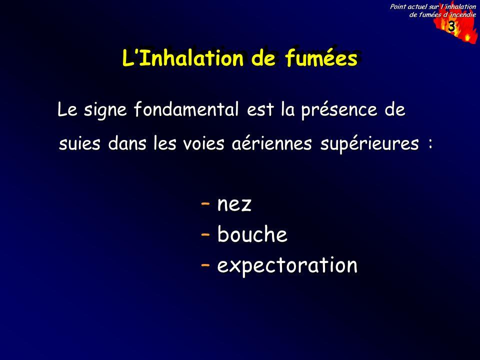 3 Point actuel sur l inhalation de fumées d incendie LInhalation de fumées Le signe fondamental est la présence de suies dans les voies aériennes supé