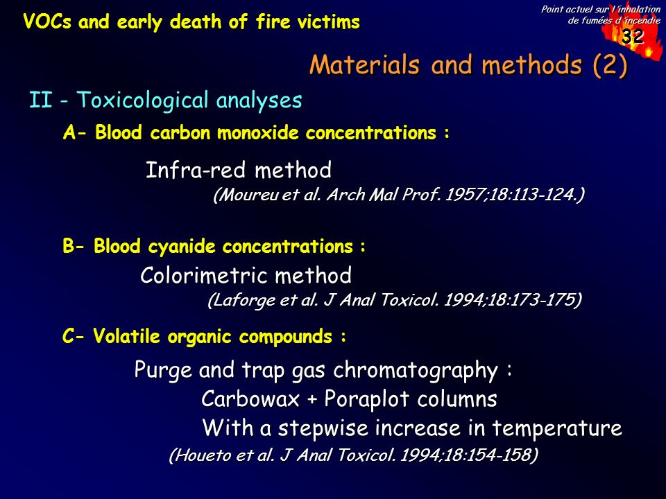 32 Point actuel sur l inhalation de fumées d incendie Materials and methods (2) II - Toxicological analyses A- Blood carbon monoxide concentrations : B- Blood cyanide concentrations : C- Volatile organic compounds : VOCs and early death of fire victims Infra-red method (Moureu et al.