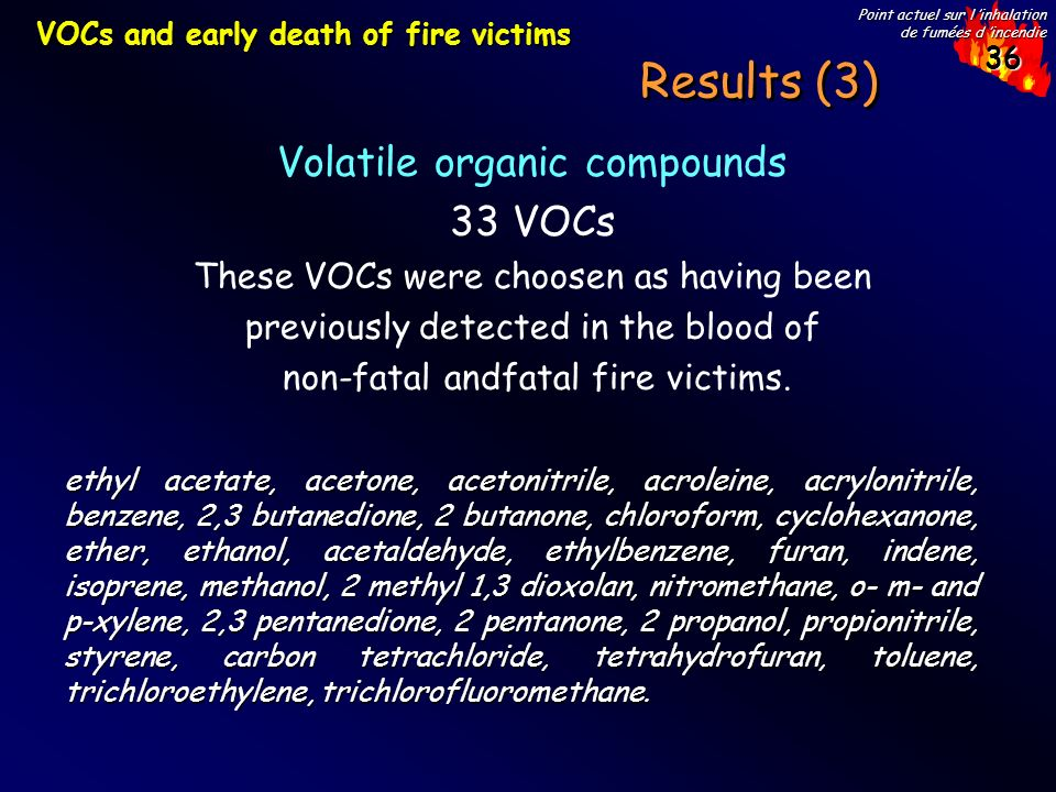 36 Point actuel sur l inhalation de fumées d incendie Results (3) Volatile organic compounds 33 VOCs These VOCs were choosen as having been previously detected in the blood of non-fatal andfatal fire victims.