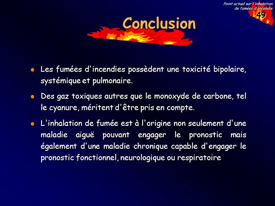49 Point actuel sur l inhalation de fumées d incendie ConclusionConclusion Les fumées d'incendies possèdent une toxicité bipolaire, systémique et pulm