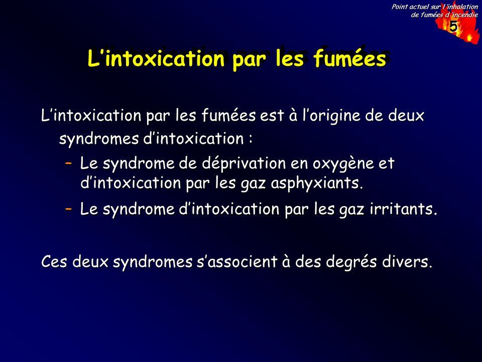 5 Point actuel sur l inhalation de fumées d incendie Lintoxication par les fumées Lintoxication par les fumées est à lorigine de deux syndromes dintox