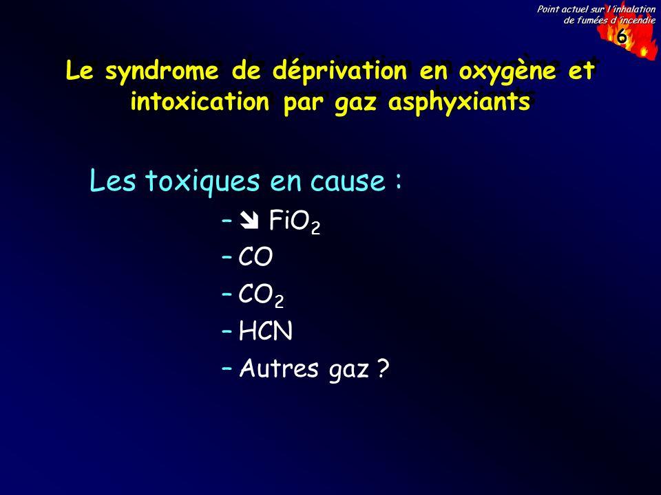 6 Point actuel sur l inhalation de fumées d incendie Le syndrome de déprivation en oxygène et intoxication par gaz asphyxiants Les toxiques en cause :