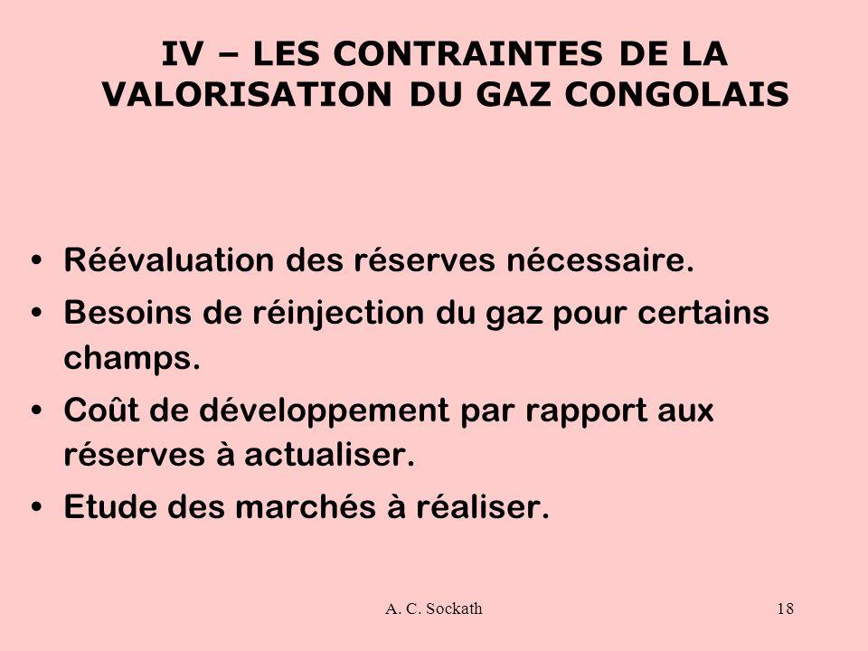 A. C. Sockath18 IV – LES CONTRAINTES DE LA VALORISATION DU GAZ CONGOLAIS Réévaluation des réserves nécessaire. Besoins de réinjection du gaz pour cert