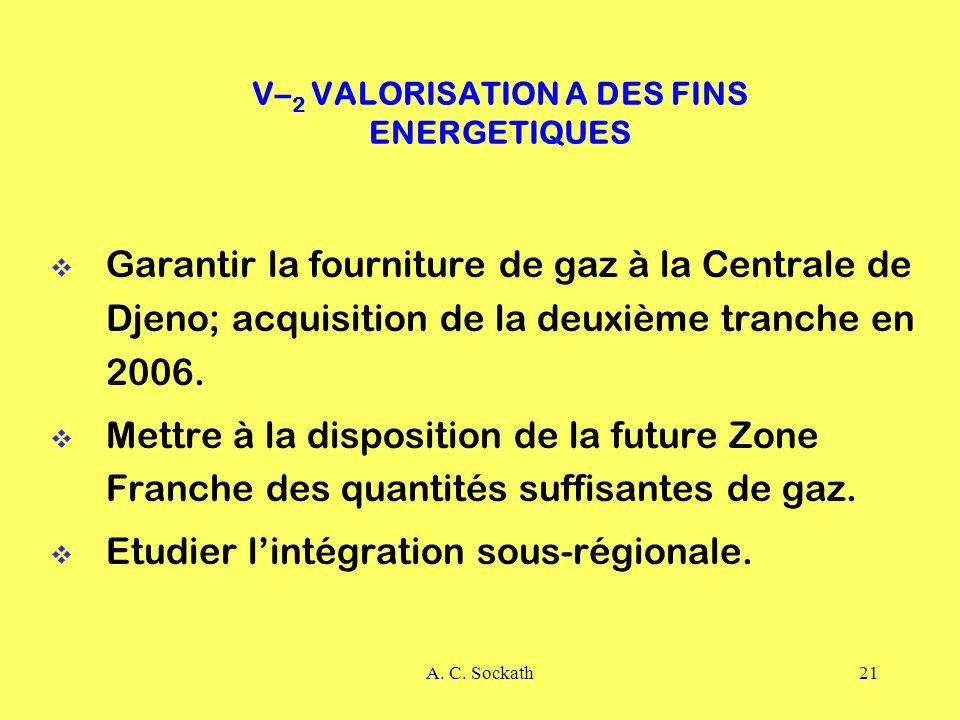 A. C. Sockath21 V– 2 VALORISATION A DES FINS ENERGETIQUES Garantir la fourniture de gaz à la Centrale de Djeno; acquisition de la deuxième tranche en