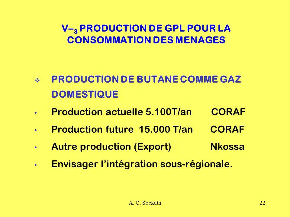 A. C. Sockath22 V– 3 PRODUCTION DE GPL POUR LA CONSOMMATION DES MENAGES PRODUCTION DE BUTANE COMME GAZ DOMESTIQUE Production actuelle 5.100T/an CORAF