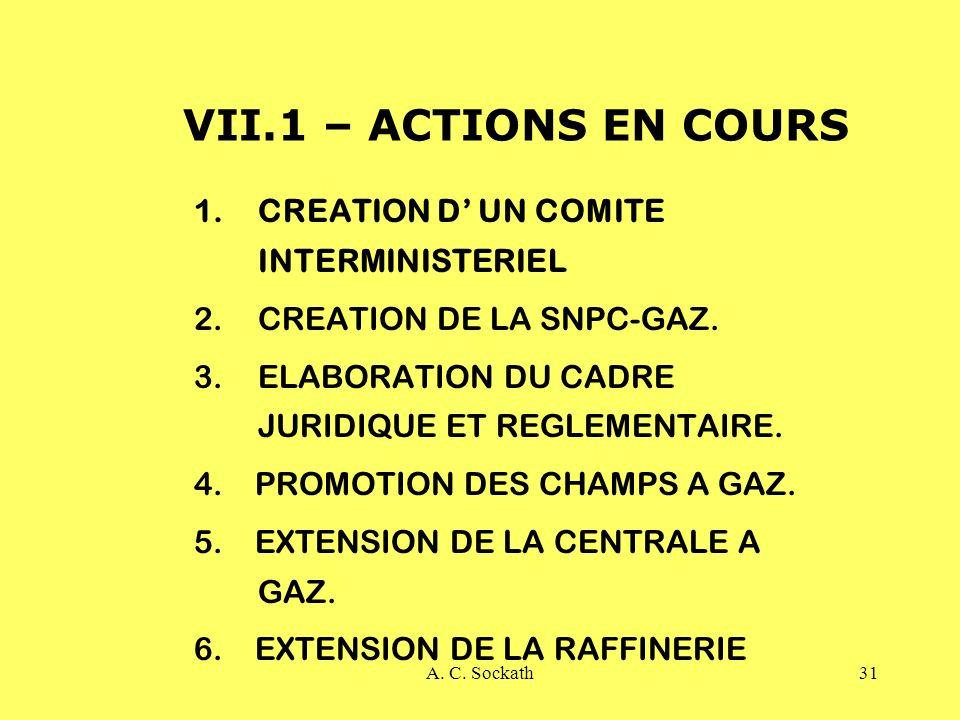 A. C. Sockath31 VII.1 – ACTIONS EN COURS 1.CREATION D UN COMITE INTERMINISTERIEL 2.CREATION DE LA SNPC-GAZ. 3.ELABORATION DU CADRE JURIDIQUE ET REGLEM