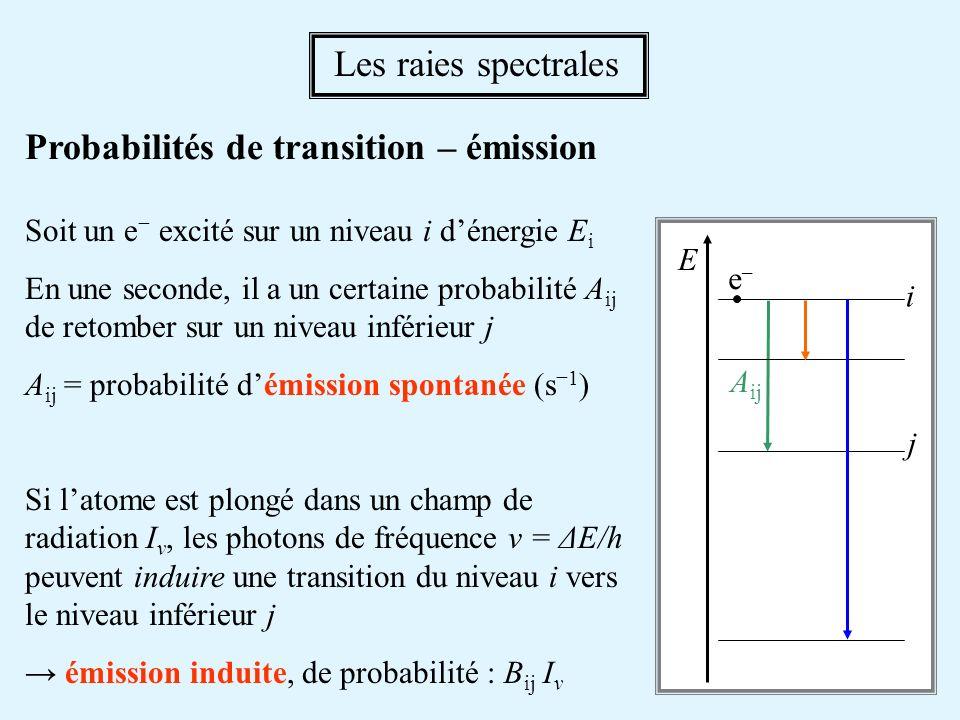 Probabilités de transition – émission Soit un e excité sur un niveau i dénergie E i En une seconde, il a un certaine probabilité A ij de retomber sur