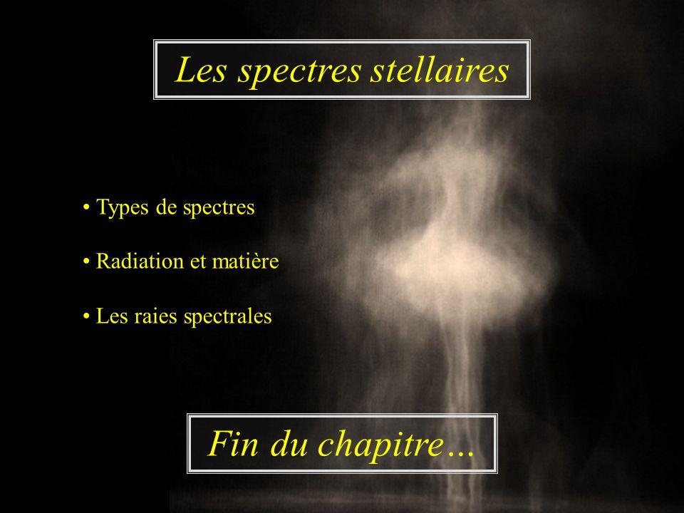 Fin du chapitre… Les spectres stellaires Types de spectres Radiation et matière Les raies spectrales