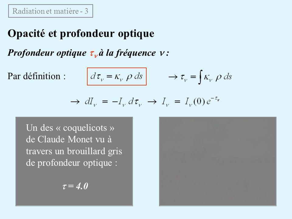Émission – Fonction source – Équation de transfert Au niveau macroscopique, on introduit un coefficient démission j ν tel que lintensité émise le long dun élément de trajet ds soit : j ν en WHz 1 rad 2 kg 1 (S.I.) Si émission + absorption : On définit la fonction source : équation de transfert : Radiation et matière - 4