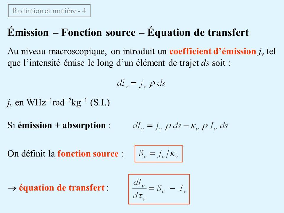 Émission – Fonction source – Équation de transfert Au niveau macroscopique, on introduit un coefficient démission j ν tel que lintensité émise le long