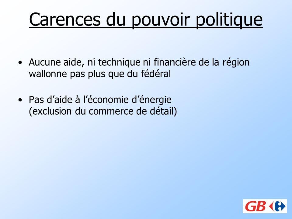 Carences du pouvoir politique Aucune aide, ni technique ni financière de la région wallonne pas plus que du fédéral Pas daide à léconomie dénergie (ex