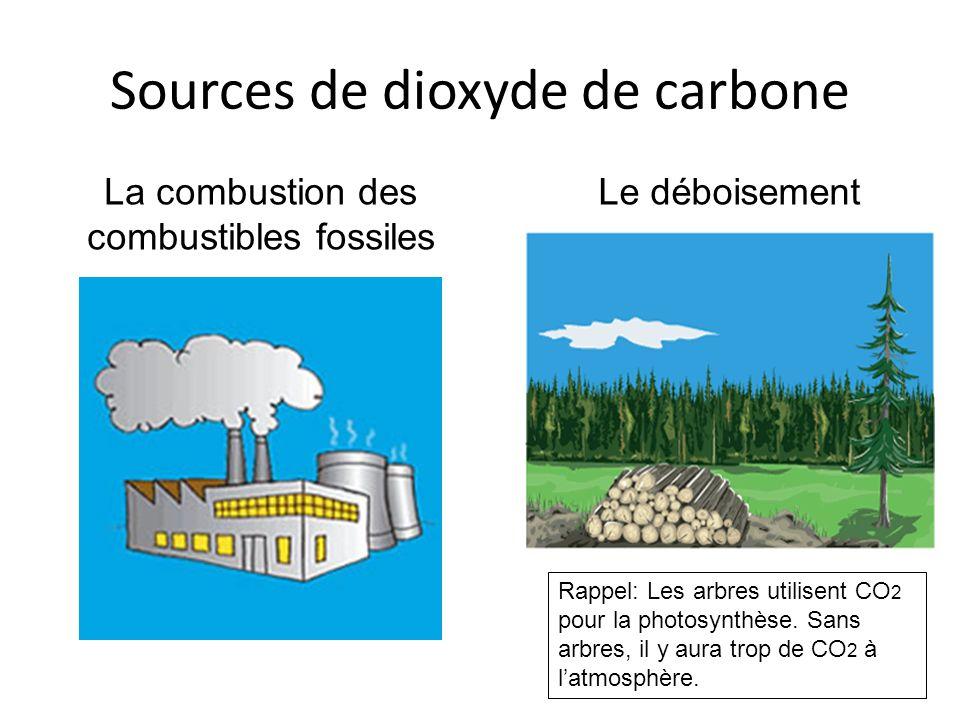 Sources de dioxyde de carbone La combustion des combustibles fossiles Le déboisement Rappel: Les arbres utilisent CO 2 pour la photosynthèse. Sans arb