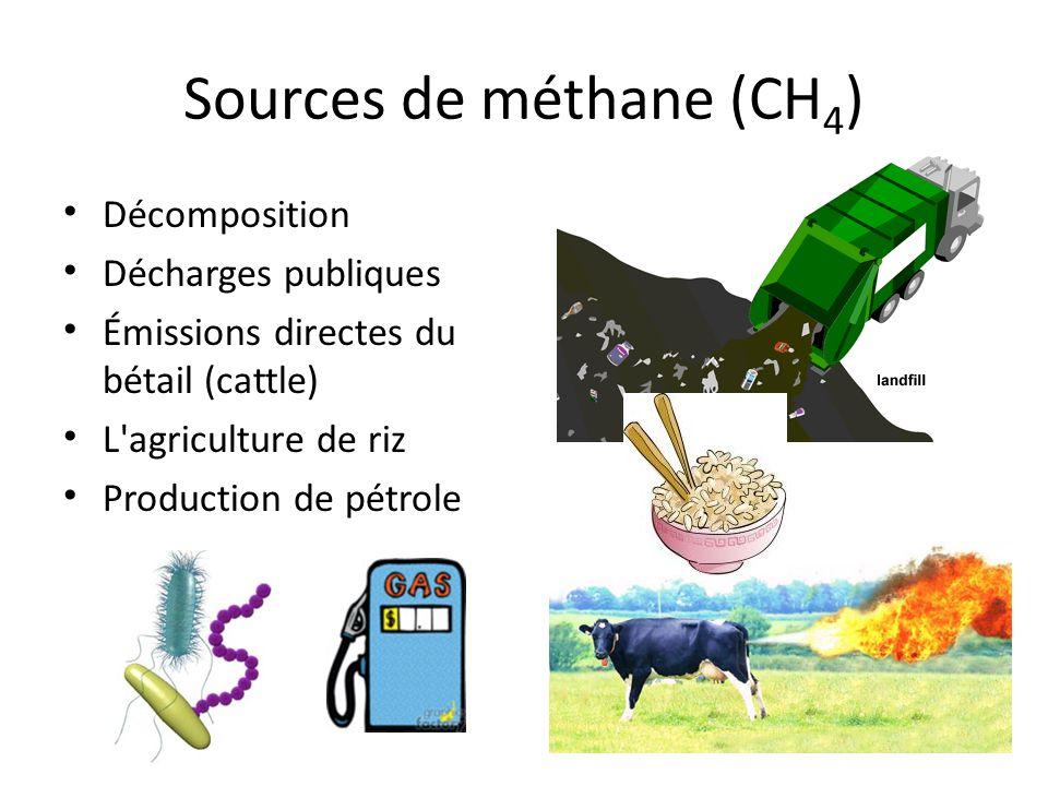 Sources de méthane (CH 4 ) Décomposition Décharges publiques Émissions directes du bétail (cattle) L'agriculture de riz Production de pétrole