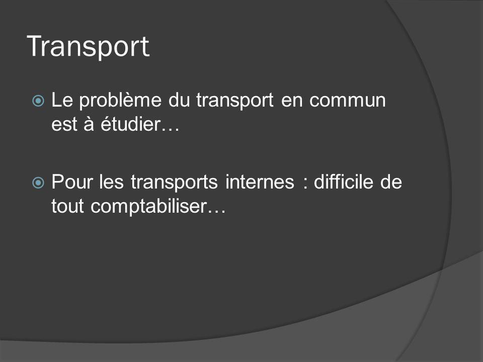 Transport Le problème du transport en commun est à étudier… Pour les transports internes : difficile de tout comptabiliser…