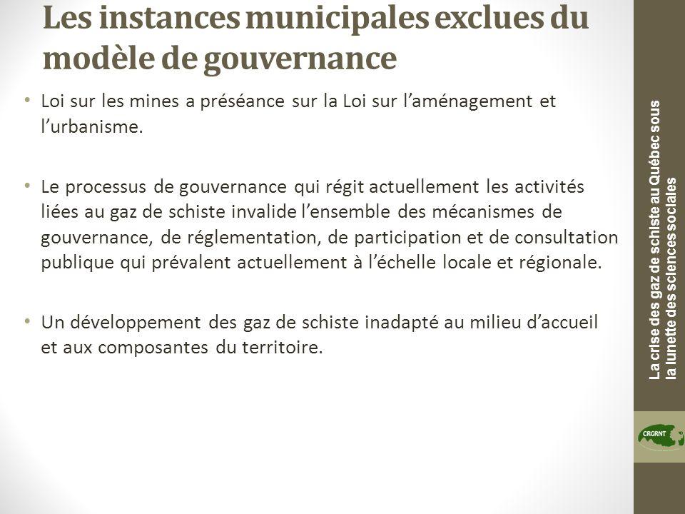 La crise des gaz de schiste au Québec sous la lunette des sciences sociales Les instances municipales exclues du modèle de gouvernance Loi sur les mines a préséance sur la Loi sur laménagement et lurbanisme.