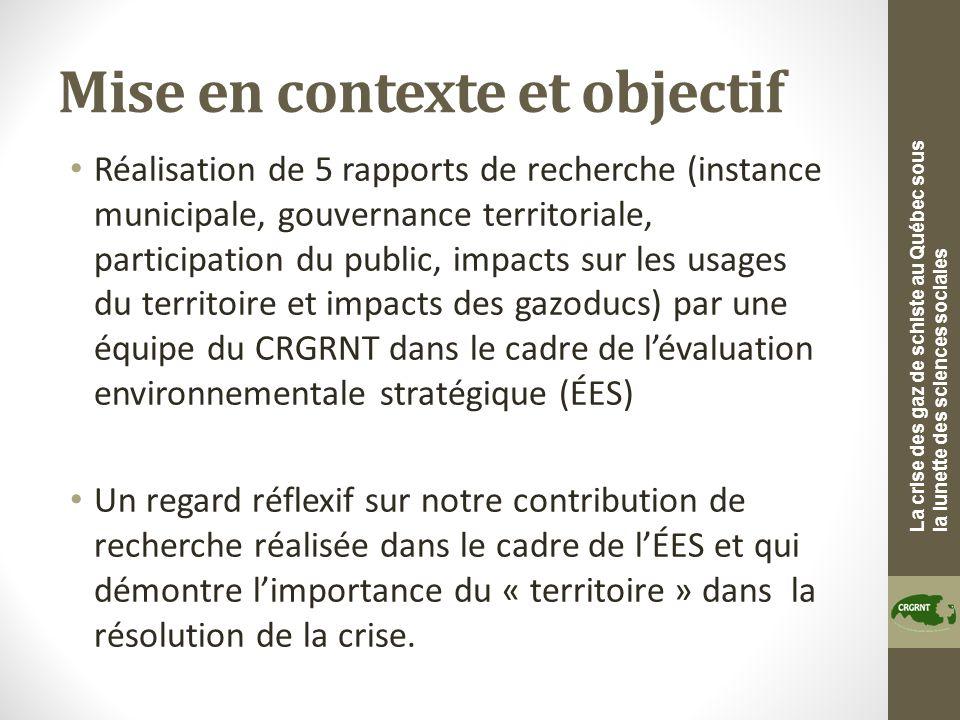 La crise des gaz de schiste au Québec sous la lunette des sciences sociales Mise en contexte et objectif Réalisation de 5 rapports de recherche (insta