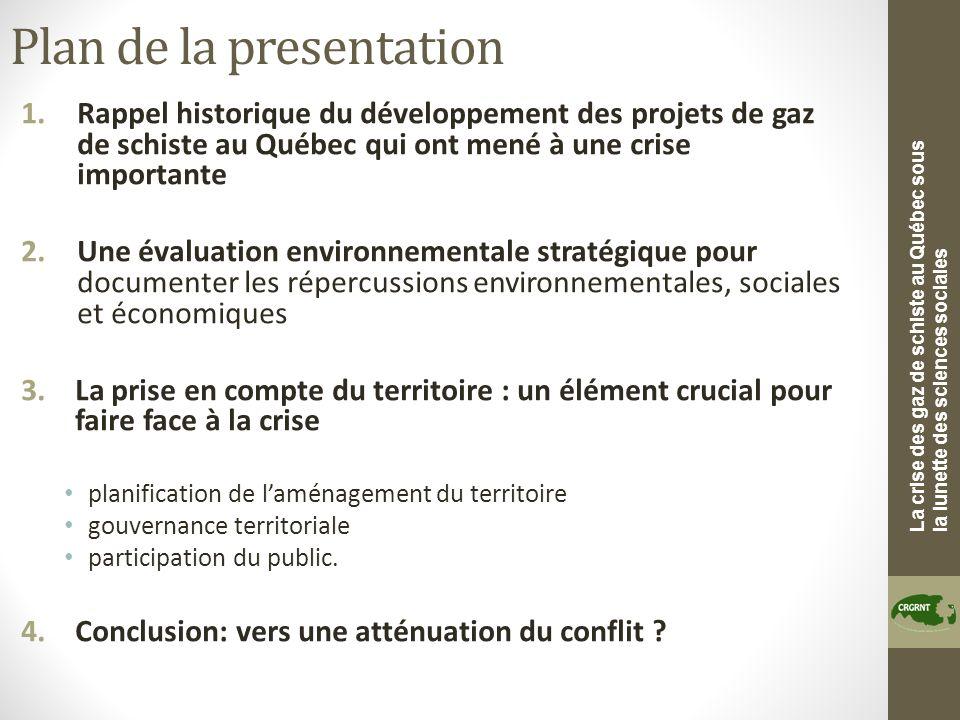 La crise des gaz de schiste au Québec sous la lunette des sciences sociales Plan de la presentation 1.Rappel historique du développement des projets d
