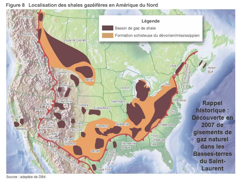 La crise des gaz de schiste au Québec sous la lunette des sciences sociales Rappel historique : Découverte en 2007 de gisements de gaz naturel dans les Basses-terres du Saint- Laurent