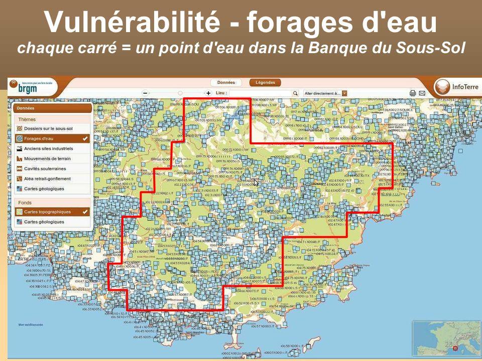 23 Vulnérabilité - forages d'eau chaque carré = un point d'eau dans la Banque du Sous-Sol