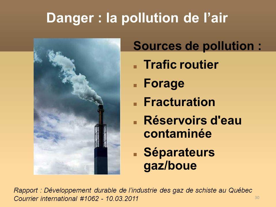 30 Sources de pollution : Trafic routier Forage Fracturation Réservoirs d'eau contaminée Séparateurs gaz/boue Danger : la pollution de lair Rapport :