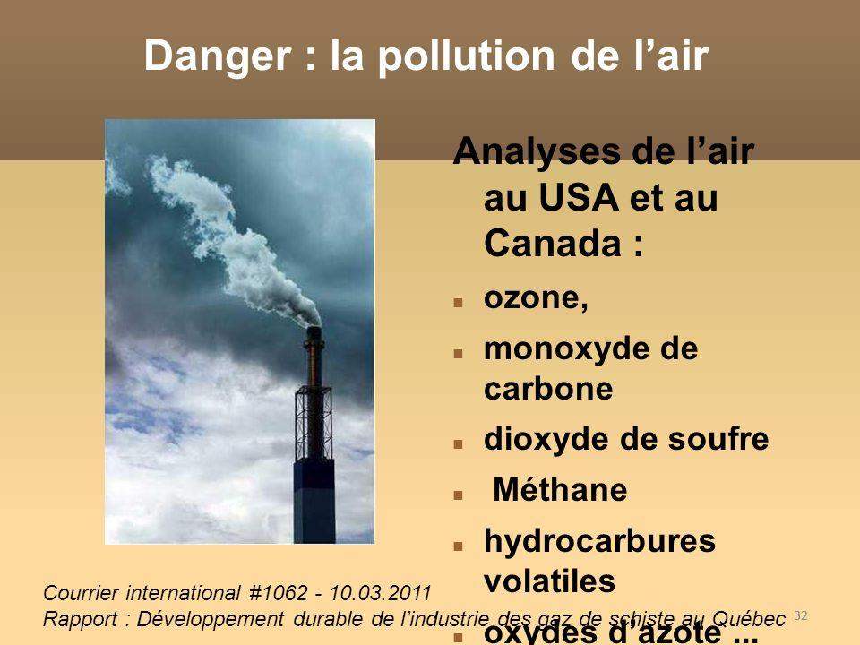 32 Analyses de lair au USA et au Canada : ozone, monoxyde de carbone dioxyde de soufre Méthane hydrocarbures volatiles oxydes dazote... Danger : la po