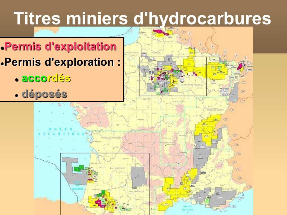 Titres miniers d'hydrocarbures Permis d'exploitation Permis d'exploitation Permis d'exploration : Permis d'exploration : accordés accordés déposés dép