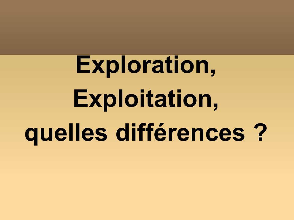 Exploration, Exploitation, quelles différences ?