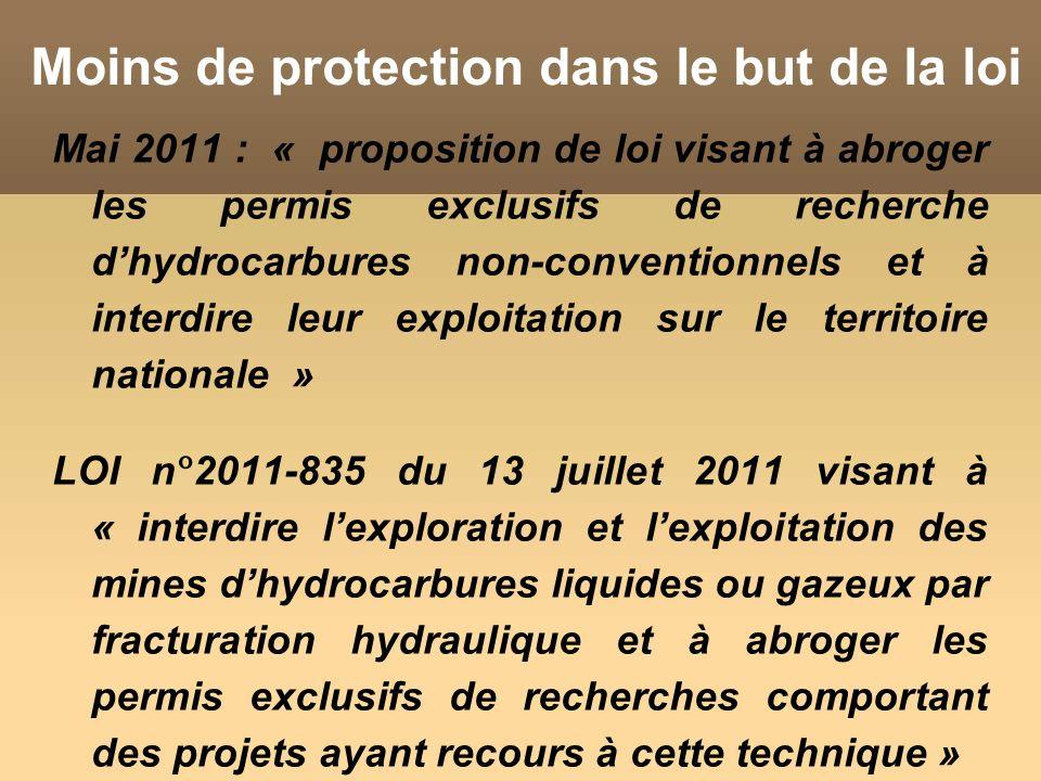 Moins de protection dans le but de la loi Mai 2011 : « proposition de loi visant à abroger les permis exclusifs de recherche dhydrocarbures non-conventionnels et à interdire leur exploitation sur le territoire nationale » LOI n°2011-835 du 13 juillet 2011 visant à « interdire lexploration et lexploitation des mines dhydrocarbures liquides ou gazeux par fracturation hydraulique et à abroger les permis exclusifs de recherches comportant des projets ayant recours à cette technique »