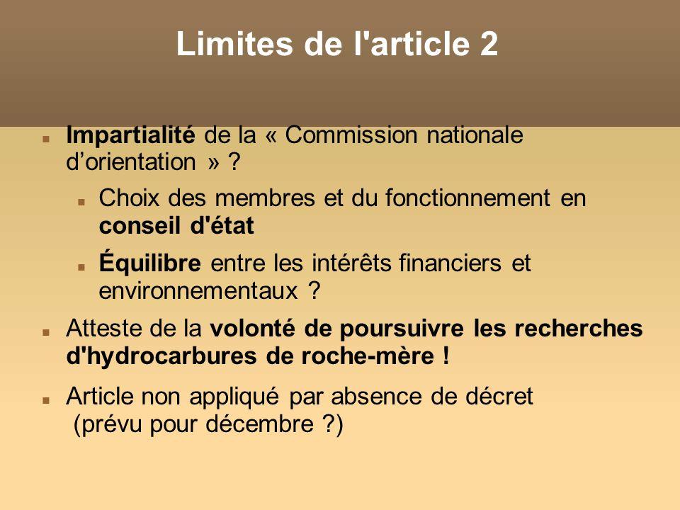 Limites de l'article 2 Impartialité de la « Commission nationale dorientation » ? Choix des membres et du fonctionnement en conseil d'état Équilibre e