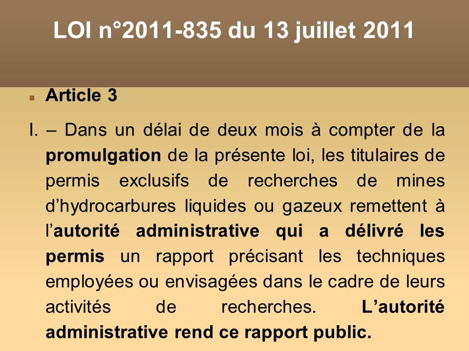 Article 3 I. – Dans un délai de deux mois à compter de la promulgation de la présente loi, les titulaires de permis exclusifs de recherches de mines d