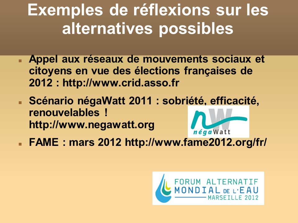 Exemples de réflexions sur les alternatives possibles Appel aux réseaux de mouvements sociaux et citoyens en vue des élections françaises de 2012 : ht
