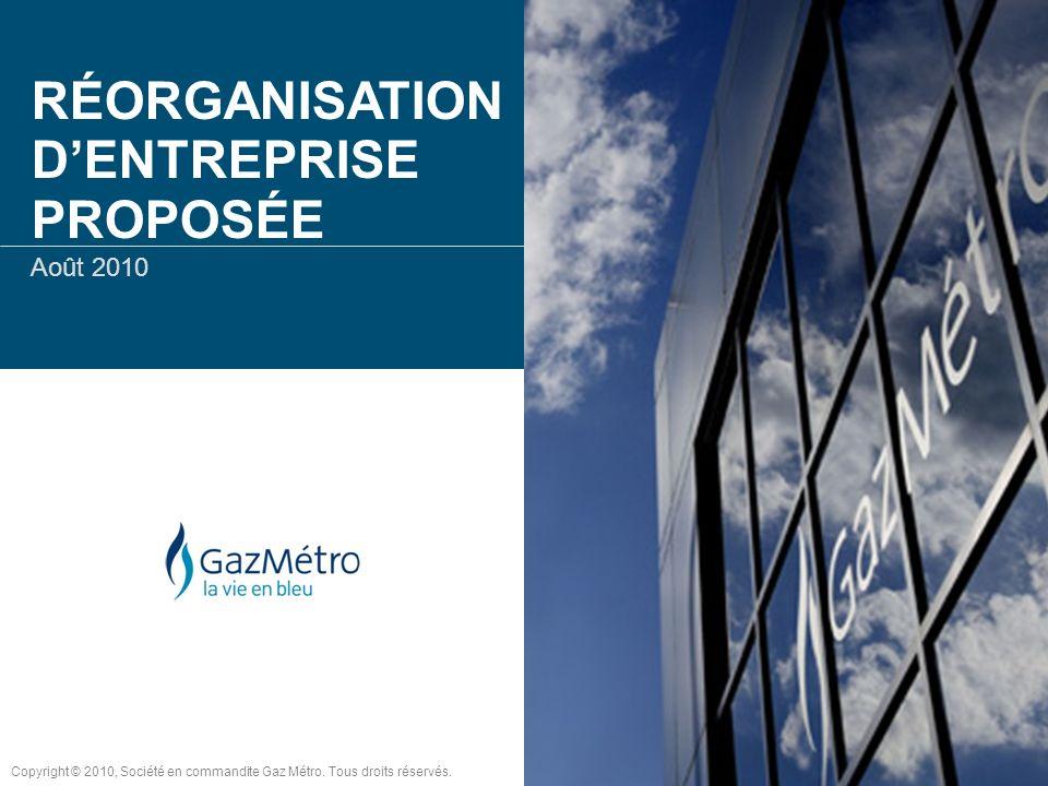 RÉORGANISATION DENTREPRISE PROPOSÉE Août 2010 Copyright © 2010, Société en commandite Gaz Métro. Tous droits réservés.