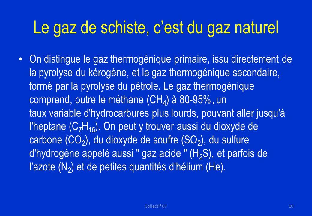Le gaz de schiste, cest du gaz naturel On distingue le gaz thermogénique primaire, issu directement de la pyrolyse du kérogène, et le gaz thermogénique secondaire, formé par la pyrolyse du pétrole.