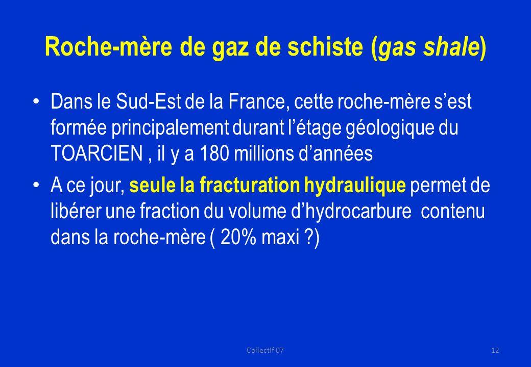 Roche-mère de gaz de schiste ( gas shale ) Dans le Sud-Est de la France, cette roche-mère sest formée principalement durant létage géologique du TOARCIEN, il y a 180 millions dannées A ce jour, seule la fracturation hydraulique permet de libérer une fraction du volume dhydrocarbure contenu dans la roche-mère ( 20% maxi ?) 12Collectif 07