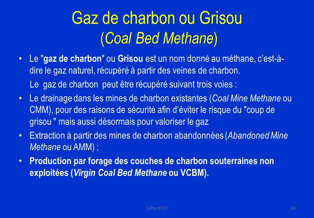 Gaz de charbon ou Grisou ( Coal Bed Methane ) Le gaz de charbon ou Grisou est un nom donné au méthane, cest-à- dire le gaz naturel, récupéré à partir des veines de charbon.