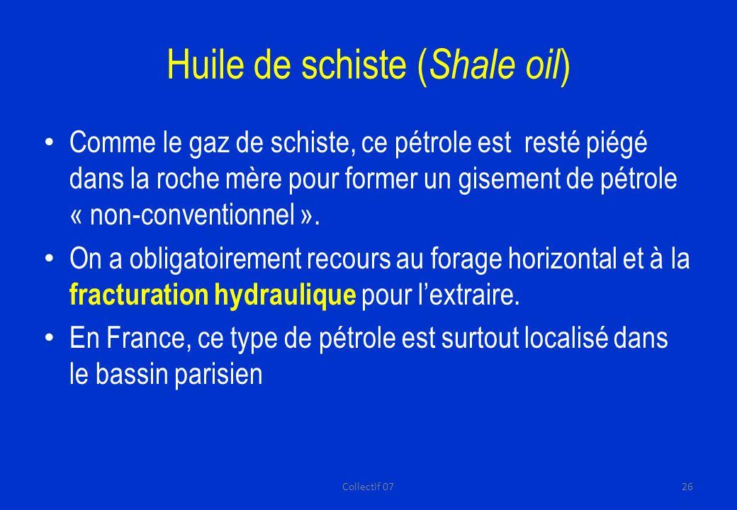 Huile de schiste ( Shale oil ) Comme le gaz de schiste, ce pétrole est resté piégé dans la roche mère pour former un gisement de pétrole « non-conventionnel ».