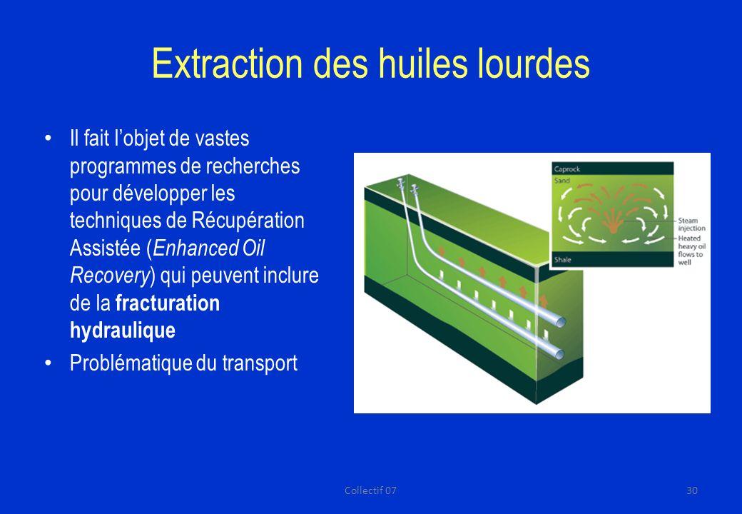Extraction des huiles lourdes Il fait lobjet de vastes programmes de recherches pour développer les techniques de Récupération Assistée ( Enhanced Oil Recovery ) qui peuvent inclure de la fracturation hydraulique Problématique du transport 30Collectif 07