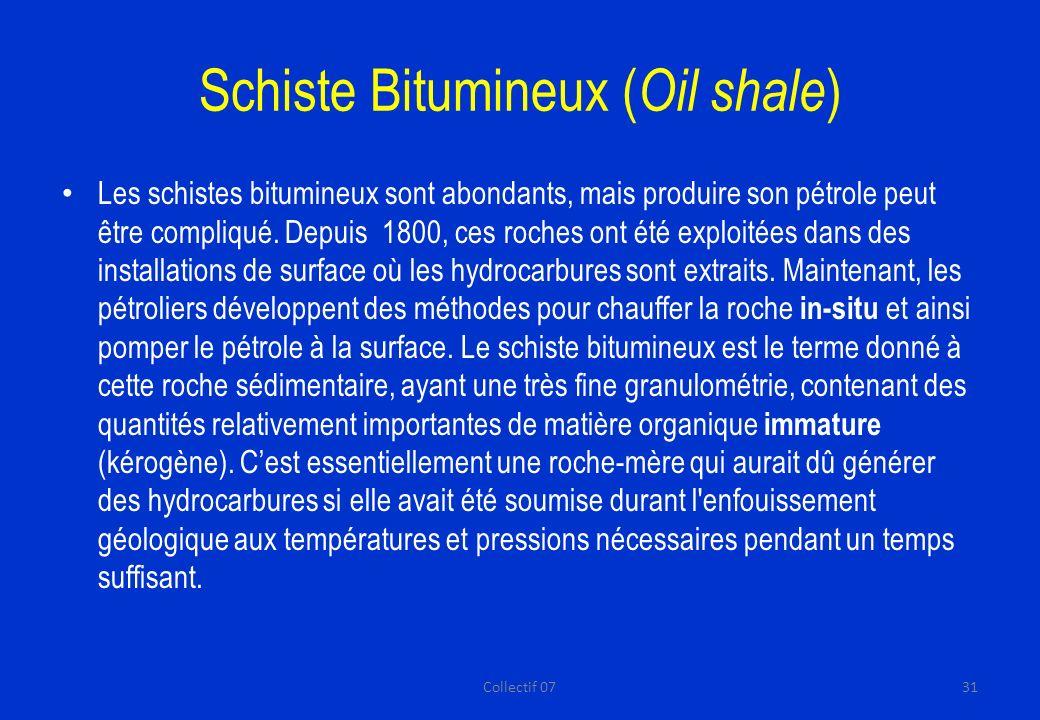 Schiste Bitumineux ( Oil shale ) Les schistes bitumineux sont abondants, mais produire son pétrole peut être compliqué.