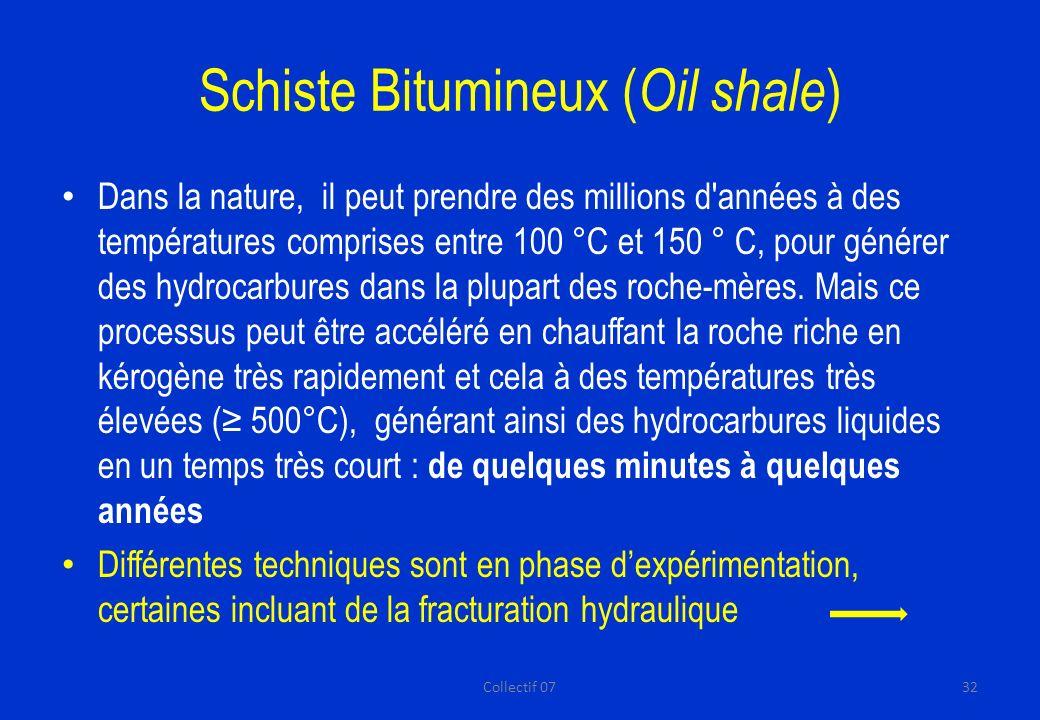 Schiste Bitumineux ( Oil shale ) Dans la nature, il peut prendre des millions d années à des températures comprises entre 100 °C et 150 ° C, pour générer des hydrocarbures dans la plupart des roche-mères.