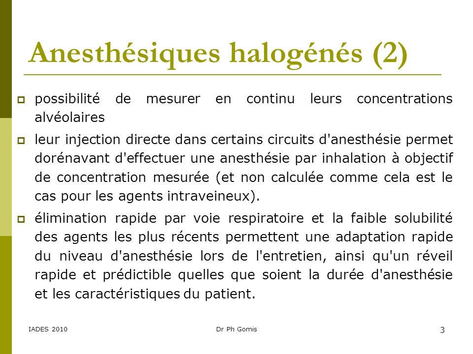 IADES 2010Dr Ph Gomis 24 Influence de la différence alvéolo-veineuse Le gradient alvéolo-veineux reflète la captation tissulaire de l anesthésique.