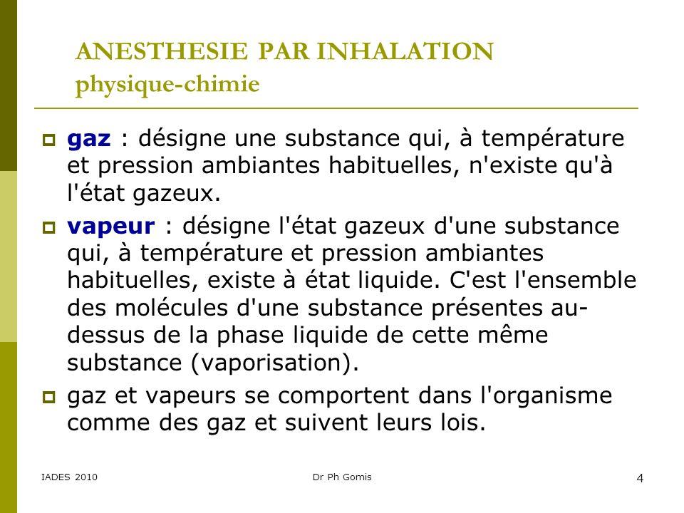 IADES 2010Dr Ph Gomis 4 ANESTHESIE PAR INHALATION physique-chimie gaz : désigne une substance qui, à température et pression ambiantes habituelles, n'