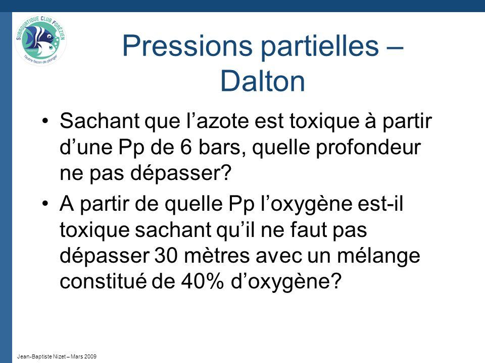 Jean-Baptiste Nizet – Mars 2009 Pressions partielles – Dalton Sachant que lazote est toxique à partir dune Pp de 6 bars, quelle profondeur ne pas dépa
