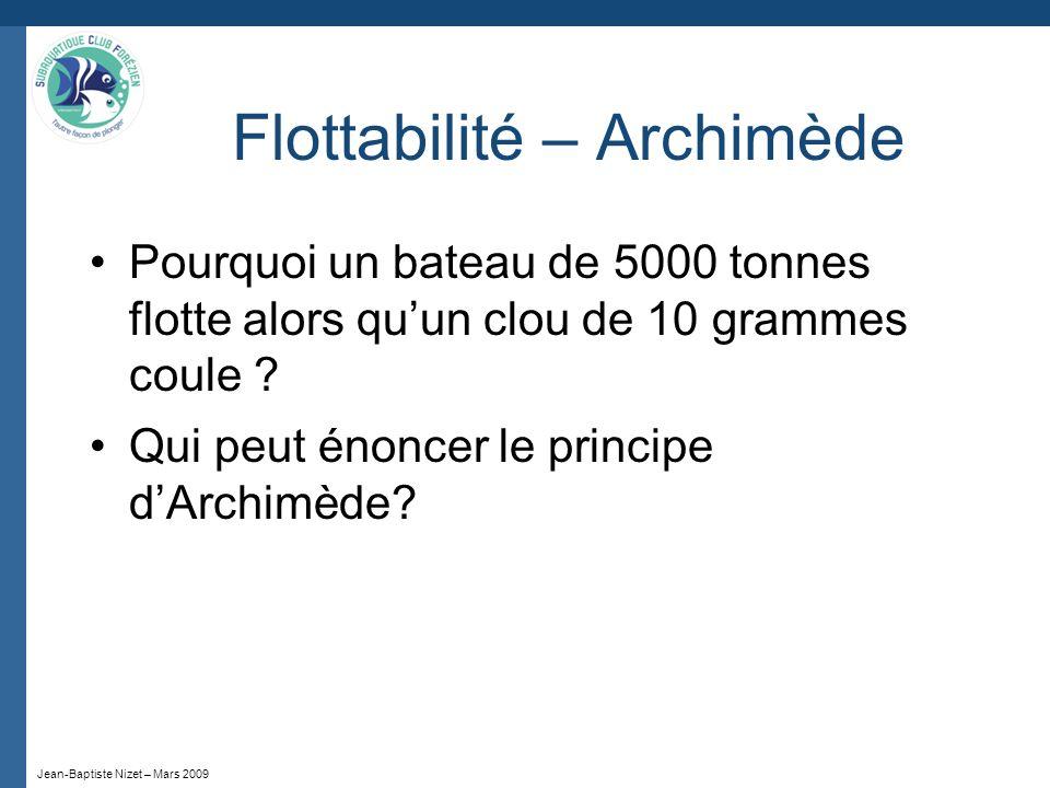 Jean-Baptiste Nizet – Mars 2009 Flottabilité – Archimède Pourquoi un bateau de 5000 tonnes flotte alors quun clou de 10 grammes coule ? Qui peut énonc