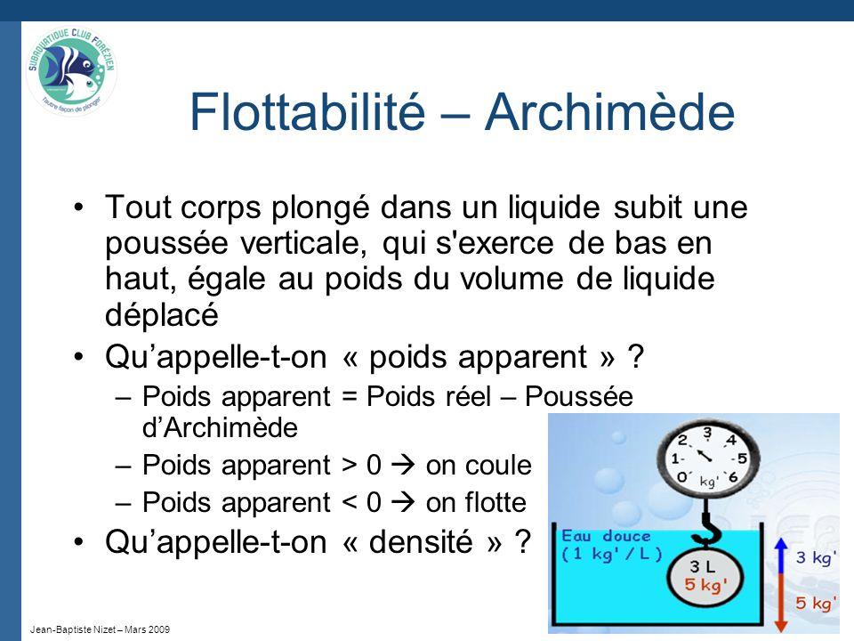 Jean-Baptiste Nizet – Mars 2009 Flottabilité – Archimède Tout corps plongé dans un liquide subit une poussée verticale, qui s'exerce de bas en haut, é